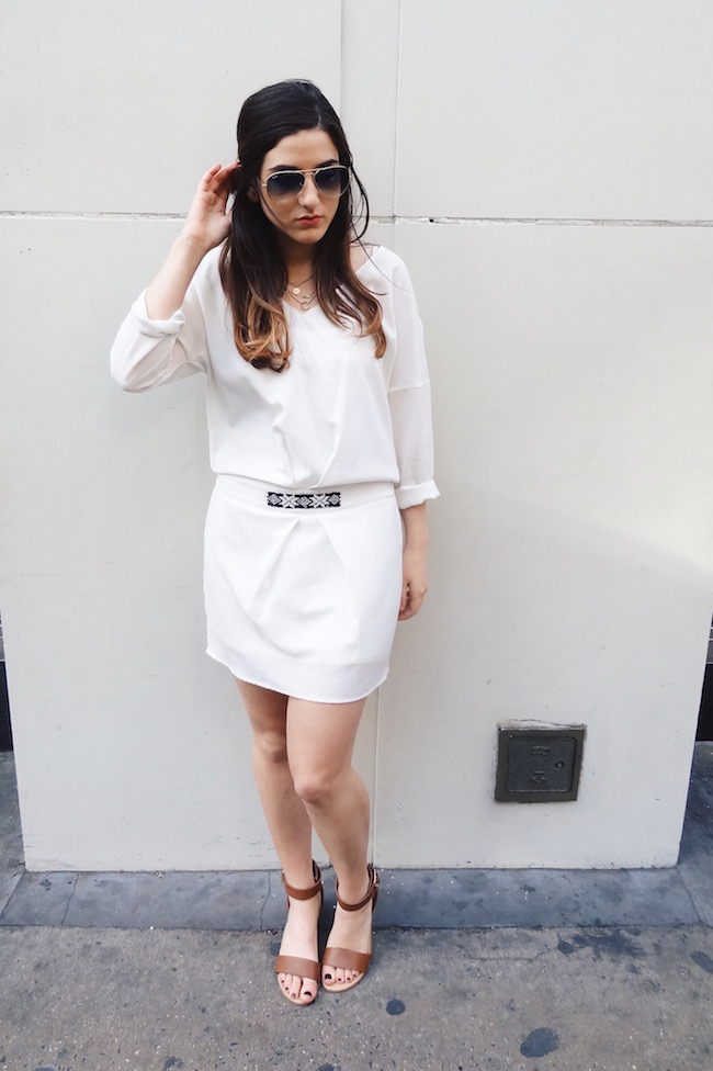 White Dress Aviators Louboutins & Love Fashion Blog L&L Esther Santer Street Style Blogger NYC Block Heels Sandals Camel Color Beaded Belt Black Sunglasses Outfit OOTD Gold Jewelry Necklaces Monogram Shoes Makeup Photoshoot Girl Swag Beautiful Hair.jpg