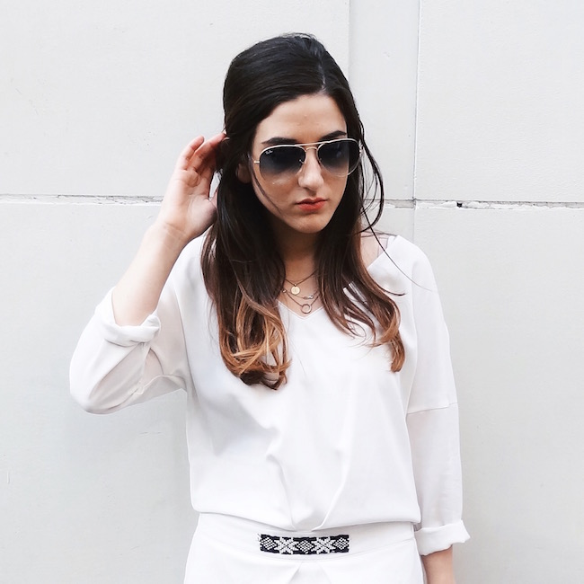 White Dress Aviators Louboutins & Love Fashion Blog L&L Esther Santer Street Style Blogger NYC Block Heels Sandals Camel Color Beaded Belt Black Sunglasses Outfit OOTD Gold Jewelry Necklaces Monogram Shoes Makeup Swag Photoshoot Girl Beautiful Hair.jpg