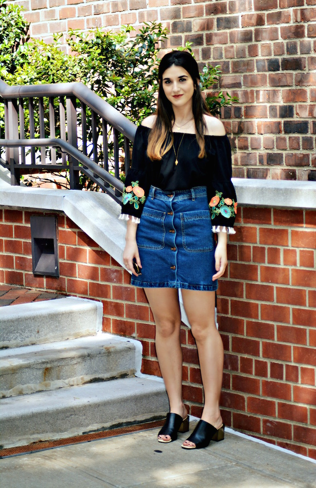 Floral Embroidered Top Daily Shoppe Louboutins & Love Fashion Blog Esther Santer Rayban Sunglasses Black Jean A-Line Skirt Denim Off The Shoulder Hair Brunette Model Photoshoot NYC Blogger OOTD Outfit Street Style Mules Gold Necklace Stacked Heel Zara.jpg