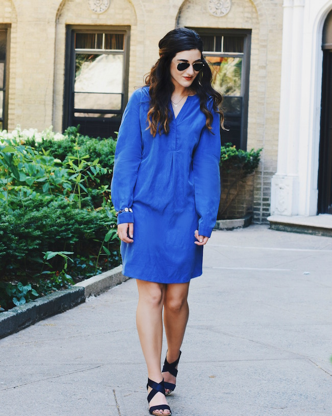 Pleione Shirt Dress Anyi Lu Wedges Louboutins & Love Fashion Blog Esther Santer NYC Street Style Blogger Blue Outfit OOTD Comfortable Swag Girl Brunette Model Aviators Rayban Sunglasses Summer Jewelry Itchelita Bracelet Photoshoot Beautiful Shopping.jpg