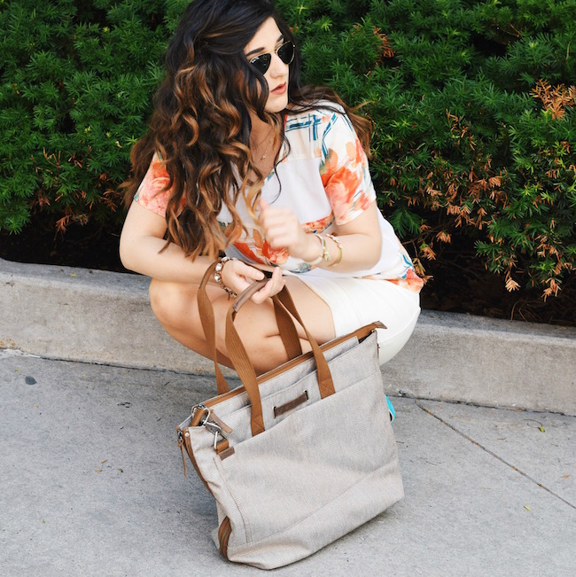 Timbuk2 Hyde Tote Louboutins & Love Fashion Blog Esther Santer Summer Travel Diaries What To Pack Handbag Bag Shoes Heels Vince Camuto Teal Colorful Rebecca Minkoff Shirt White Scalloped Skirt Brunette Hair Girl Women NYC Street Style Outfit Look OOTD.jpg