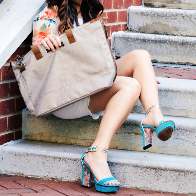 Timbuk2 Hyde Tote Louboutins & Love Fashion Blog Esther Santer Summer Travel Diaries What To Pack Handbag Bag Shoes Heels Vince Camuto Teal Colorful Rebecca Minkoff Shirt White Scalloped Skirt Brunette Hair Girl Women Street Style NYC Outfit OOTD Look.jpg