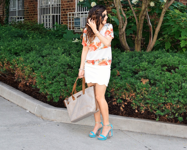 Timbuk2 Hyde Tote Louboutins & Love Fashion Blog Esther Santer Summer Travel Diaries What To Pack Handbag Bag Shoes Heels Vince Camuto Teal Colorful Rebecca Minkoff Shirt White Scalloped Skirt Brunette Hair Girl Women Street Style Outfit Look OOTD NYC.jpg