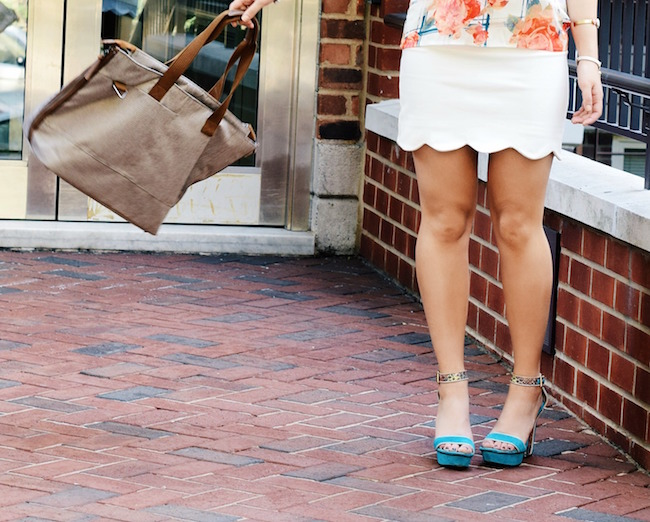 Timbuk2 Hyde Tote Louboutins & Love Fashion Blog Esther Santer Summer Travel Diaries What To Pack Handbag Bag Shoes Heels Vince Camuto Teal Colorful Rebecca Minkoff Shirt White Scalloped Skirt Brunette Hair Girl Women Street Style NYC Outfit Look OOTD.jpg