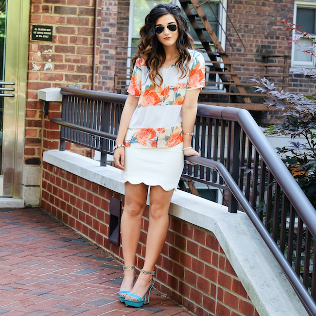Rebecca Minkoff Floral Mesh Top Bandits of Colour Louboutins & Love Fashion Blog Esther Santer Street Style NYC Beautiful Outfit OOTD Red Blue White Scalloped Skirt Topshop Sunglasses Rayban Aviators Summer Look Inspo Shop Vince Camuto Girl Heels.jpg