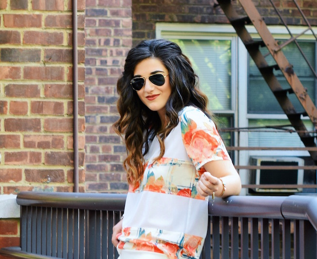 Rebecca Minkoff Floral Mesh Top Bandits of Colour Louboutins & Love Fashion Blog Esther Santer Street Style NYC Beautiful Outfit OOTD Red Blue White Scalloped Skirt Topshop Sunglasses Rayban Aviators Summer Look Shop Inspo Wear Vince Camuto Heels.jpg