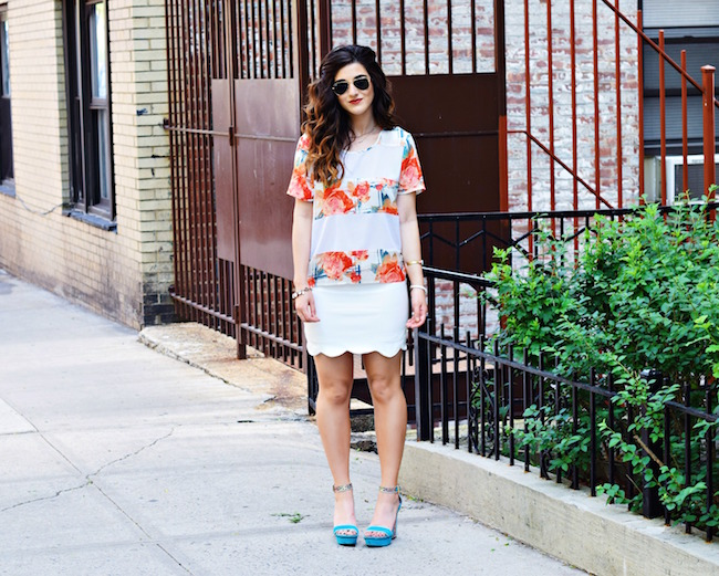 Rebecca Minkoff Floral Mesh Top Bandits of Colour Louboutins & Love Fashion Blog Esther Santer Street Style NYC Beautiful Outfit OOTD Red Gold White Scalloped Skirt Topshop Sunglasses Rayban Aviators Summer Look Shop Inspo Vince Camuto Heels Girl.jpg