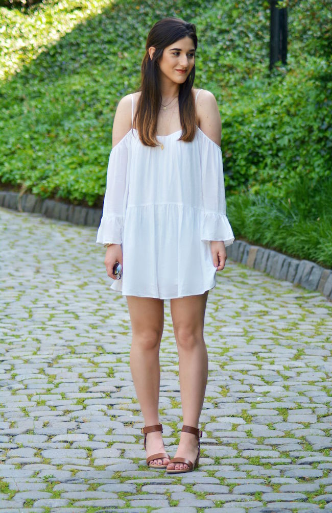 All White Look Zara Romper Louboutins & Love Fashion Blog Esther Santer NYC Street Style Blogger Pretty Photoshoot Lifestyle Girl Women Shopping Wear Necklace Gold Sandals Shoes Brunette Summer Cuff Bracelet Coco Marie Shopping Greece Croatia Vacation.jpg