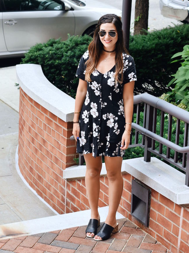 Black Floral Dress Brandy Melville Louboutins & Love Fashion Blog Esther Santer NYC Street Style Blogger New York Tattoo Choker Necklace Gold Bracelets Cuff Hair Brunette Girl Women Model Sunglasses RayBan Aviators Summer Spring Jewelry Mules V-Neck.jpg
