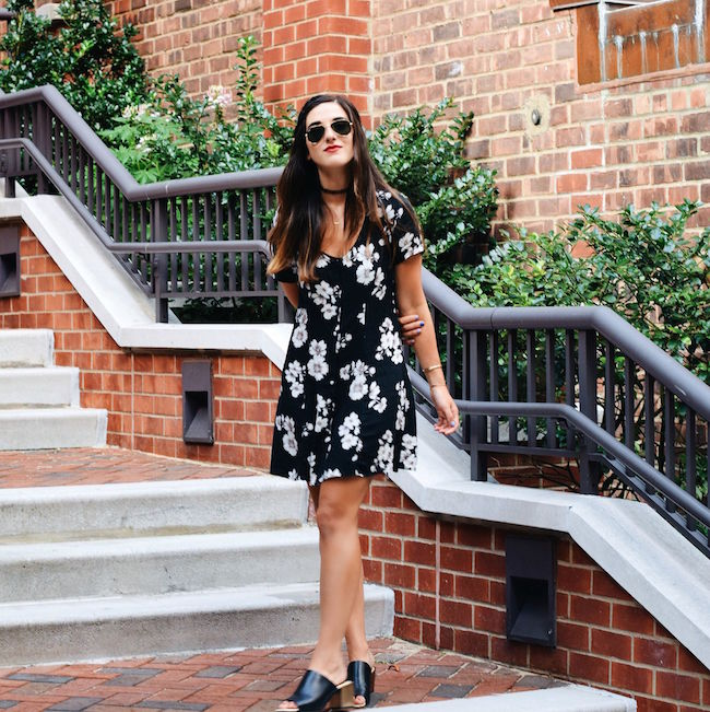 Black Floral Dress Brandy Melville Louboutins & Love Fashion Blog Esther Santer NYC Street Style Blogger New York Tattoo Choker Necklace Gold Jewelry Bracelets Cuff Hair Brunette Girl Women Model RayBan Sunglasses Aviators Spring Summer Mules V-Neck.jpg