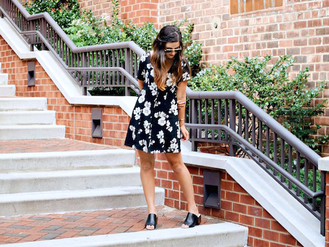 Black Floral Dress Brandy Melville Louboutins & Love Fashion Blog Esther Santer NYC Street Style Blogger New York Tattoo Choker Necklace Gold Jewelry Bracelets Cuff Hair Brunette Girl Women Model RayBan Sunglasses Aviators Summer Spring Mules V-Neck.jpg