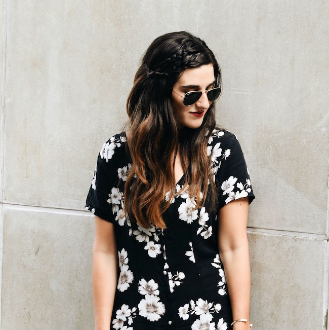 Black Floral Dress Brandy Melville Louboutins & Love Fashion Blog Esther Santer NYC Street Style Blogger New York Tattoo Choker Necklace Gold Jewelry Bracelets Cuff Hair Brunette Girl Women Model Sunglasses RayBan Aviators Spring Summer Mules V-Neck.jpg