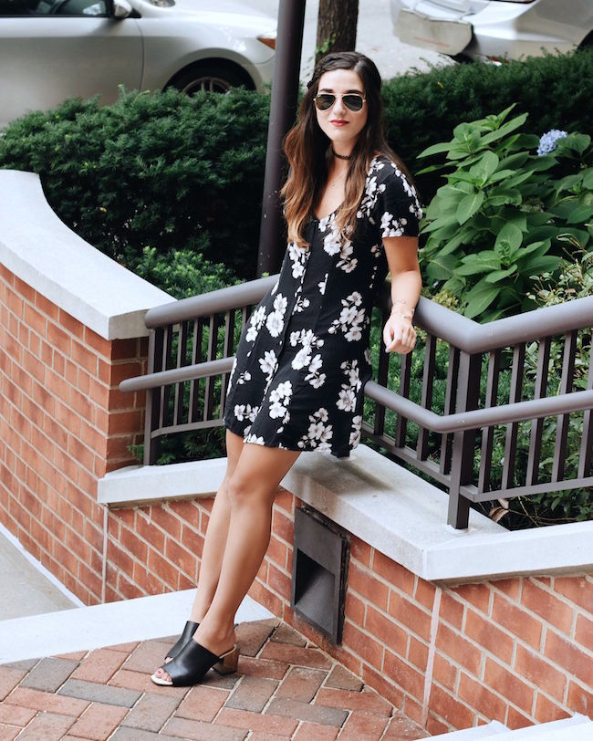 Black Floral Dress Brandy Melville Louboutins & Love Fashion Blog Esther Santer NYC Street Style Blogger New York Tattoo Choker Necklace Gold Jewelry Bracelets Cuff Hair Brunette Girl Women Model Sunglasses RayBan Aviators Summer Spring Mules V-Neck.jpg