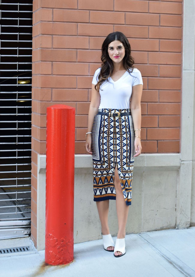 Printed Skirt White Tee Topshop Louboutins & Love Fashion Blog Esther Santer Style Blogger NYC Shoes Shop Vintage Navy Blue Belt Bracelet Jewelry Gold V-Neck Outfit OOTD Girl Women Inspiration Photoshoot Hair Inspo Street Style Mules Aviators RayBan.jpg