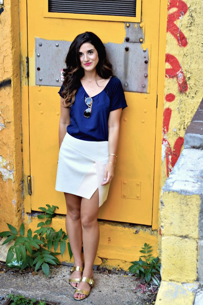 Navy Top White Pleather Skirt Louboutins & Love Fashion Blog Esther Santer Street Style Blogger NYC Photoshoot RayBan Aviators Sunglasses Summer Look Shopping Shirt Girl Model Hair Slit Blue Shoes Sandals Gold Jewelry Cuff Bracelet Outfit OOTD Wear.jpg