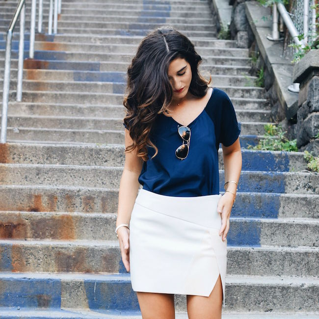 Navy Top White Pleather Skirt Louboutins & Love Fashion Blog Esther Santer Street Style Blogger NYC Photoshoot RayBan Aviators Sunglasses Summer Look Shopping Shirt Girl Model Hair Slit Blue Shoes Sandals Gold Jewelry Cuff Bracelet Outfit Wear OOTD.jpg