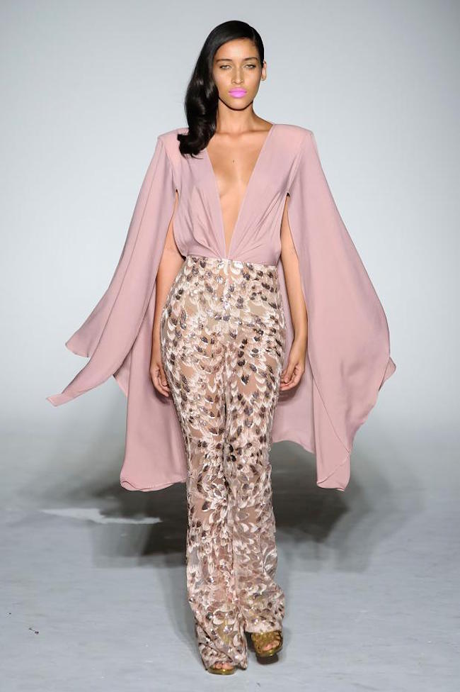NYFW Michael Costello Fashion Show Spring Summer 2016 Louboutins & Love Fashion Blog Esther Santer NYC Street Style Blogger Designer Project Runway Outfit Crown Models Pants Jumpsuit Bodysuit Colorful Pink Floral Green Jewels Trends Lace White Dress.jpg