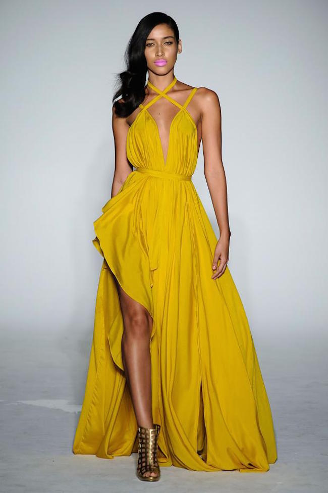 NYFW Michael Costello Fashion Show Spring Summer 2016 Louboutins & Love Fashion Blog Esther Santer NYC Street Style Blogger Designer Project Runway Outfit Crown Models Yellow Jumpsuit Bodysuit Colorful Pink Floral Green Jewels Trends Lace White Dress.jpg