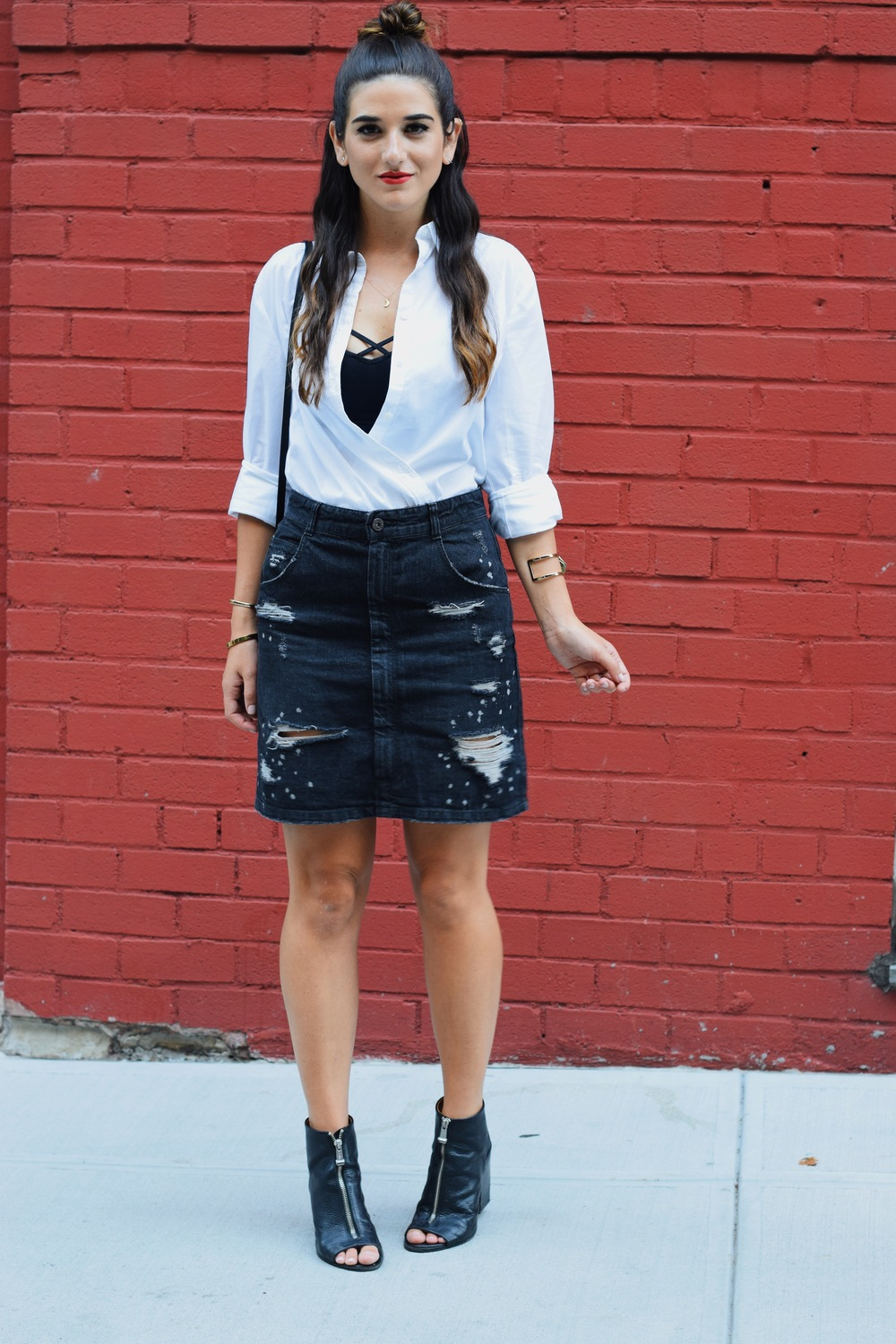 Coco & Marie Moon Necklace Giveaway Louboutins & Love Fashion Blog Esther Santer NYC Street Style Blogger Lifestyle Topknot Bun Denim Ripped Jean Skirt White Button Down Zara Black Box Clutch Bag Bralette Nordstrom Booties Gold Jewelry Girl Women Shop.JPG
