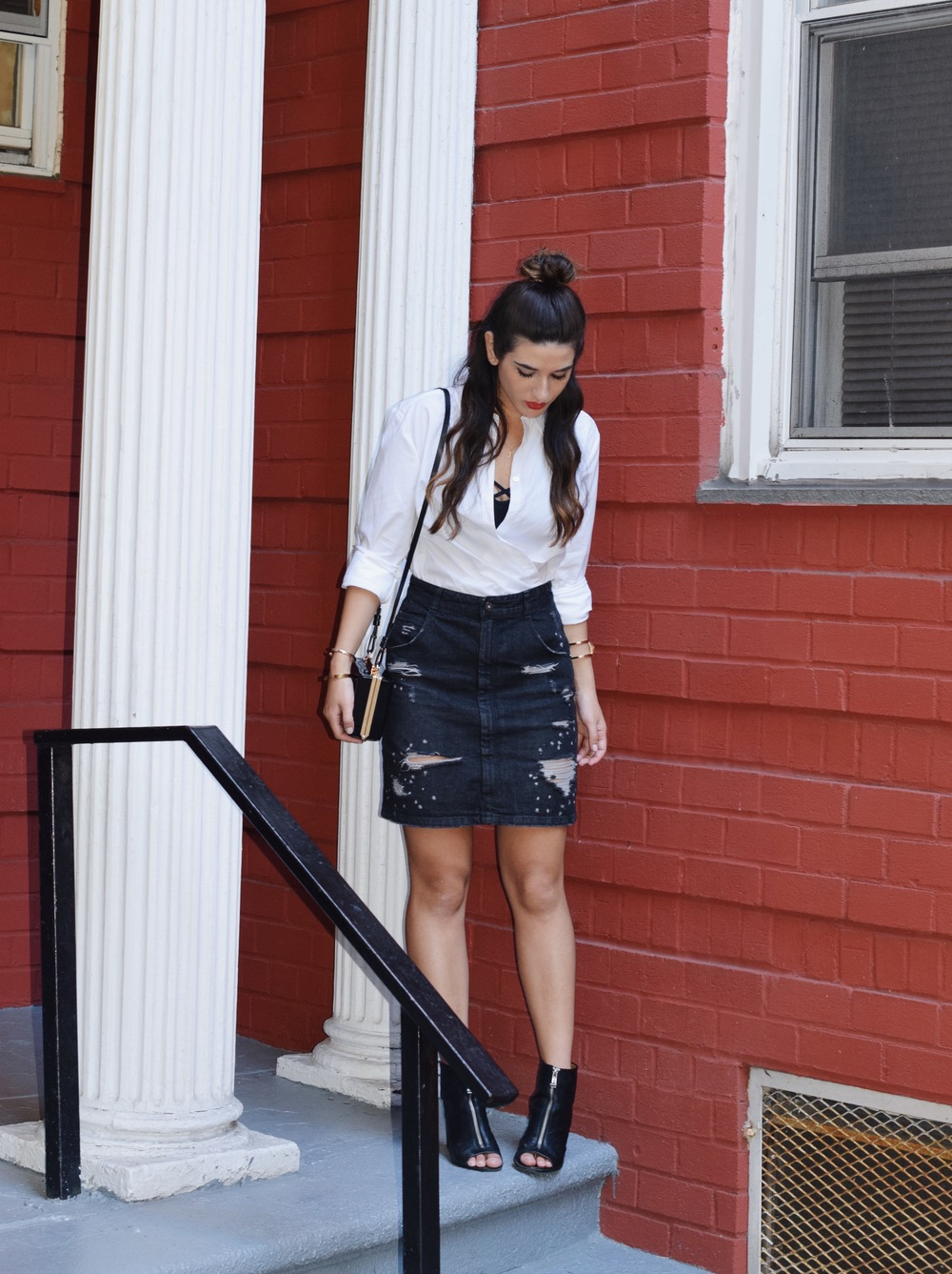 Coco & Marie Moon Necklace Giveaway Louboutins & Love Fashion Blog Esther Santer NYC Street Style Blogger Lifestyle Topknot Bun Denim Ripped Jean Skirt White Button Down Zara Black Box Clutch Bag Nordstrom Booties Bralette Brandy Melville Gold Jewelry.JPG
