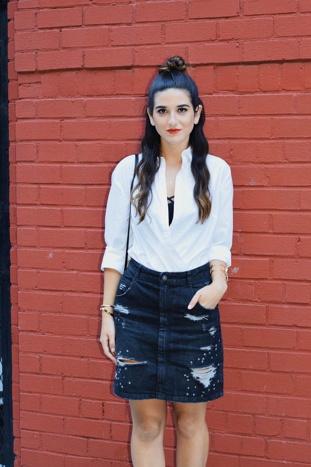 Coco & Marie Moon Necklace Giveaway Louboutins & Love Fashion Blog Esther Santer NYC Street Style Blogger Lifestyle Topknot Bun Denim Ripped Jean Skirt White Button Down Zara Black Box Clutch Bag Nordstrom Booties Bralette Gold Jewelry Women Girl OOTD.JPG