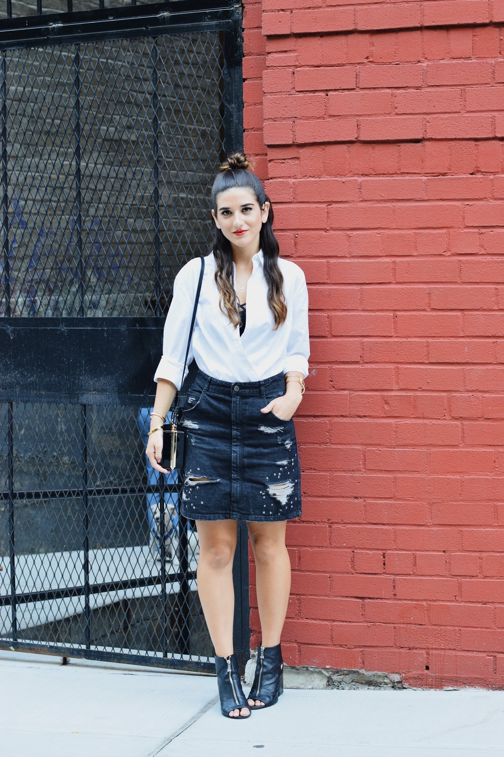 Coco & Marie Moon Necklace Giveaway Louboutins & Love Fashion Blog Esther Santer NYC Street Style Blogger Lifestyle Topknot Bun Denim Ripped Jean Skirt White Button Down Zara Black Box Clutch Bag Nordstrom Booties Bralette Women Girl Hair Gold Jewelry.JPG