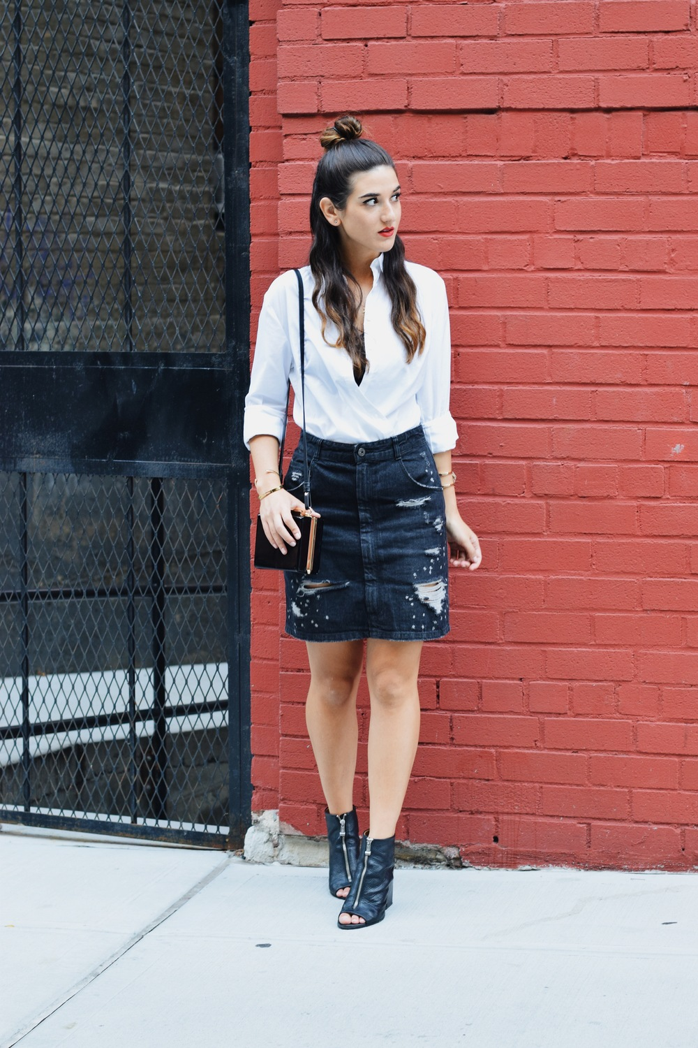 Coco & Marie Moon Necklace Giveaway Louboutins & Love Fashion Blog Esther Santer NYC Street Style Blogger Lifestyle Topknot Bun Denim Ripped Jean Skirt White Button Down Zara Black Box Clutch Bag Nordstrom Booties Bralette Girl Women Hair Gold Jewelry.JPG