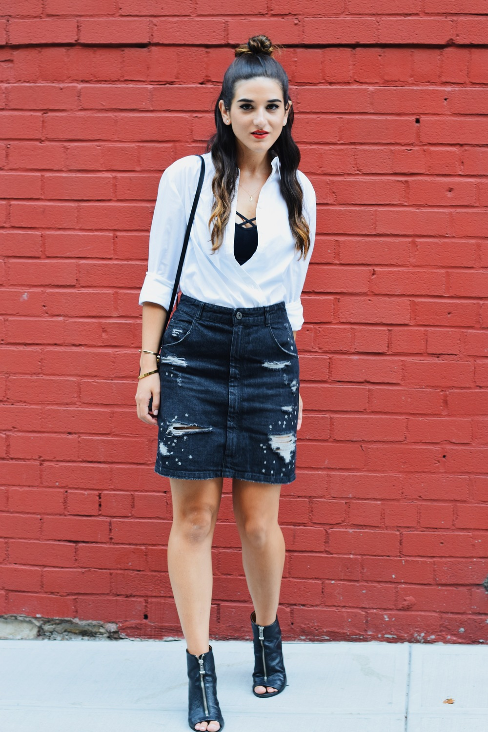 Coco & Marie Moon Necklace Giveaway Louboutins & Love Fashion Blog Esther Santer NYC Street Style Blogger Lifestyle Topknot Bun Ripped Jean Skirt Denim Zara Button Down Zara Black Box Clutch Bag Bralette Nordstrom Booties Girl Outfit Gold Jewelry OOTD.JPG
