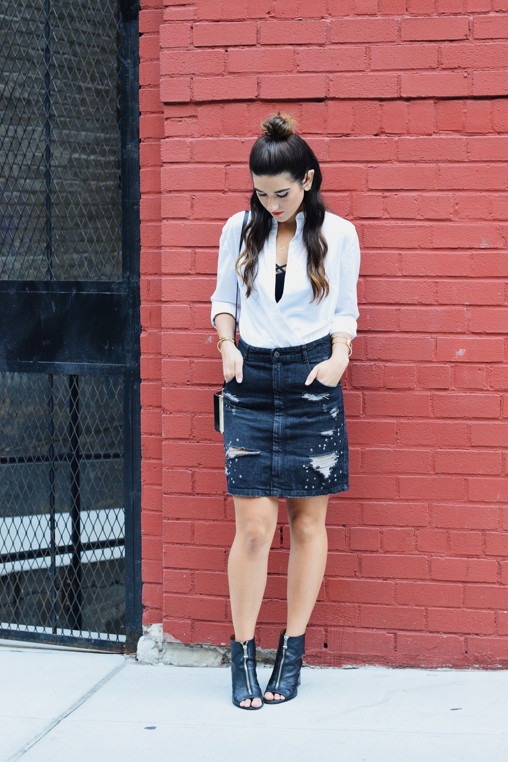 Coco & Marie Moon Necklace Giveaway Louboutins & Love Fashion Blog Esther Santer NYC Street Style Blogger Lifestyle Topknot Bun Ripped Jean Skirt Denim Zara Button Down Zara Black Clutch Bag Bralette Nordstrom Booties Girl Women Gold Jewelry Outfit.JPG