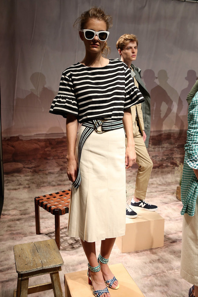NYFW JCrew Presentation Spring Summer 2016 Louboutins & Love Fashion Blog Esther Santer Gingham Plaid Stripes Colors Jewelry Sunglasses Earrings Shoes Pants Belt Bags NYC Street Style Blogger Models Hair Outfit Dress Girls Blue Pink Skirt Green Purple.jpg
