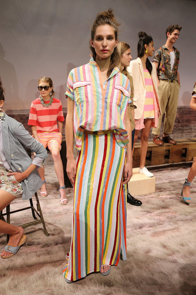 NYFW JCrew Presentation Spring Summer 2016 Louboutins & Love Fashion Blog Esther Santer Gingham Plaid Stripes Colors Jewelry Sunglasses Earrings Shoes Pants Belt Bags NYC Street Style Blogger Models Hair Outfit Dress Pink Blue Skirt Girls Women Green.jpg