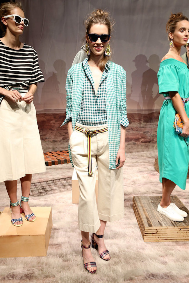 NYFW JCrew Presentation Spring Summer 2016 Louboutins & Love Fashion Blog Esther Santer Gingham Plaid Stripes Colors Jewelry Sunglasses Earrings Shoes Pants Belt Bags NYC Street Style Blogger Models Hair Outfit OOTD Designer Pretty Girls Women Green.jpg