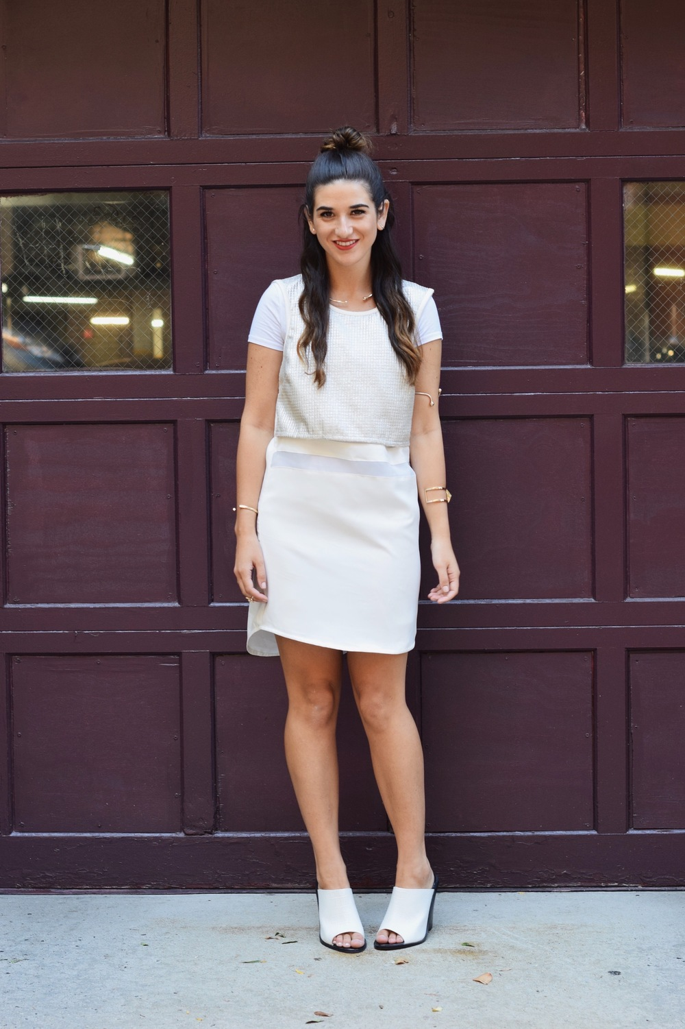 All White Look Gold Jewelry Louboutins & Love Fashion Blog Esther Santer Street Style NYC Blogger Lydell NYC Lumier Bariano Red Light PR Collab IfChic Mod Mules Topknot Hair Girl Model Photoshoot Shoes Necklace Bracelet Dress OOTD Outfit Summer Women.jpg
