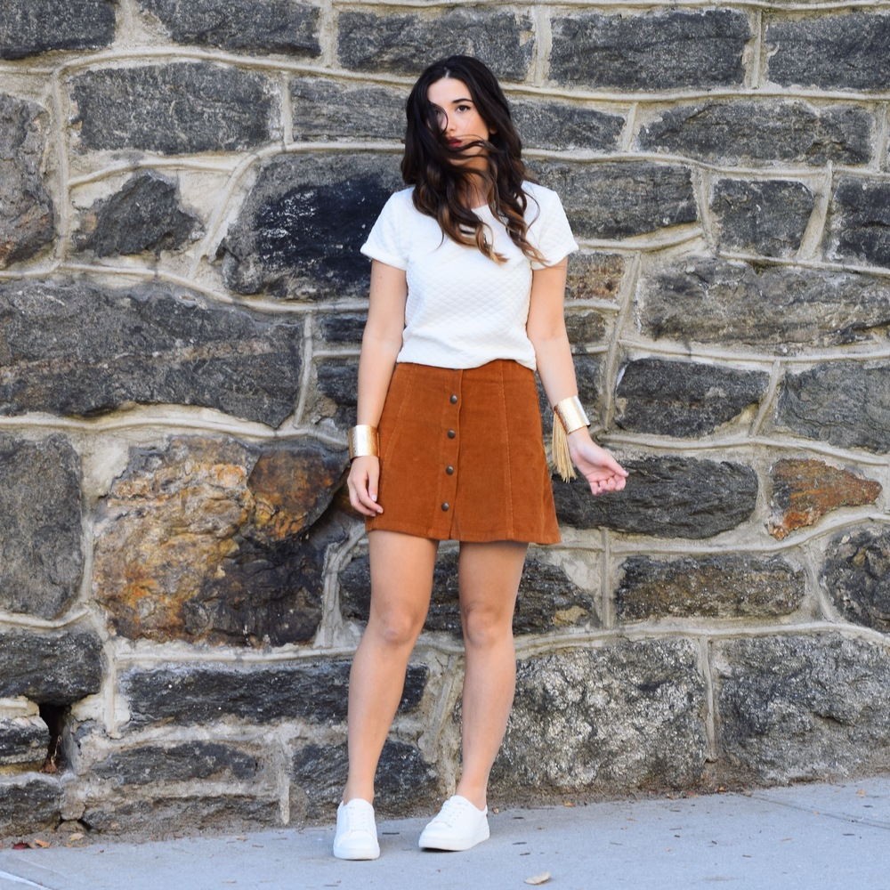 Pelle.NYC Gold Fringed Cuffs Giveaway Louboutins & Love Fashion Blog Esther Santer Street Style Blogger NYC Photoshoot Bracelets Topshop White Crop Top Button Front Corduroy Hair Brunette Model Girl Women Trendy Outfit OOTD Look Inspiration Inspo Shop.JPG