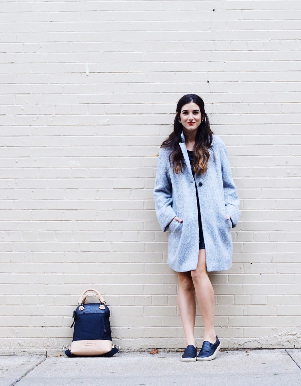 Femme Satchel Backpack Timbuk2 Louboutins & Love Fashion Blog Esther Santer Street Style Blogger NYC Outfit OOTD Girl Grey Peacoat Zara Bag Purse Sneakers Nordstrom Steve Madden Hair Brunette Inspo Coat Earrings Shopping Women Fall Winter Trendy Shoes.JPG