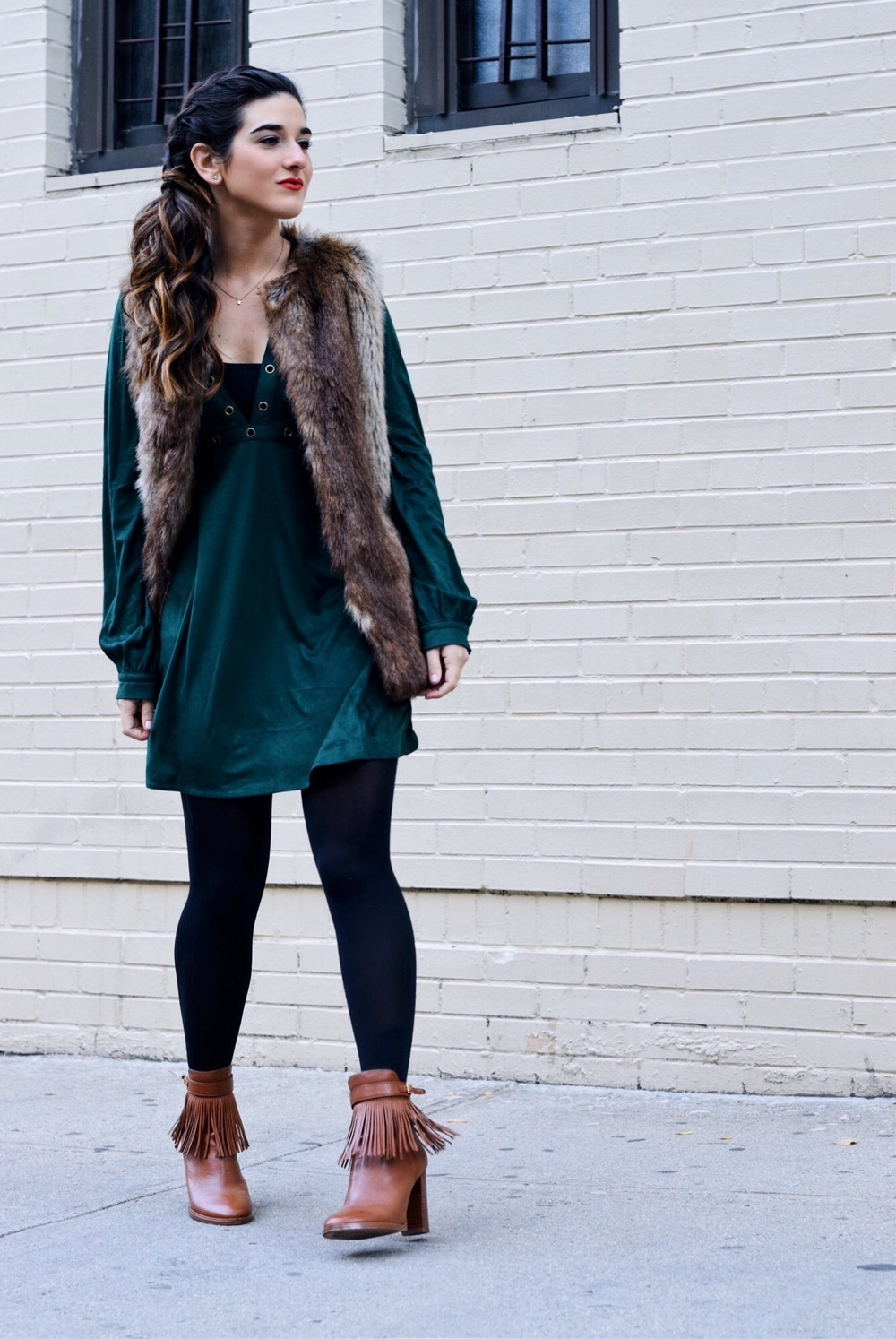 Suede Eyelet Dress Trescool Louboutins & Love Fashion Blog Esther Santer Street Style NYC Blogger Fall Winter Black Tights Ivanka Trump Fringe Booties Camel Hair Girl Women Beautiful Photoshoot Model Outfit OOTD Inspo Trendy Zara Fur Vest What To Wear.JPG