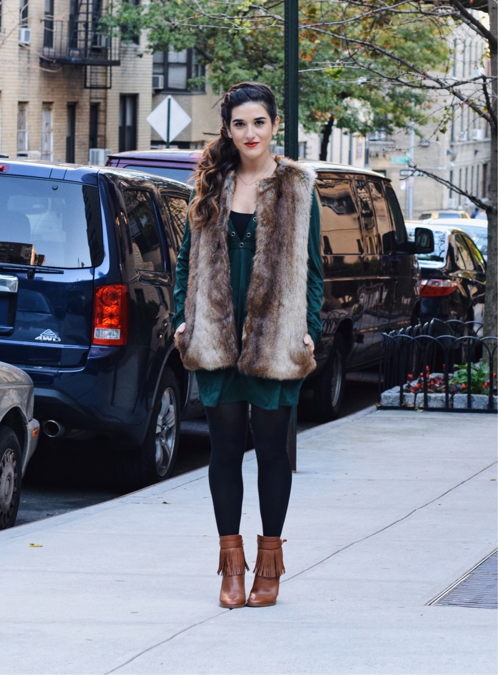 Suede Eyelet Dress Trescool Louboutins & Love Fashion Blog Esther Santer Street Style NYC Blogger Fall Winter Black Tights Ivanka Trump Fringe Booties Camel Hair Girl Women Beautiful Photoshoot Model Trendy Zara Fur Vest Outfit OOTD Inspo What To Wear.JPG