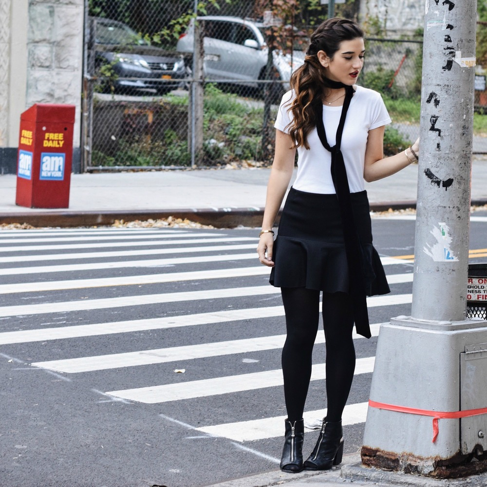 White Tee and Skinny Necktie Onno T-shirts Louboutins & Love Fashion Blog Esther Santer NYC Street Style Blogger Braid Brunette Lydell NYC Jewelry Earrings Black Skirt H&M Tattoo Bracelet Ring Outfit OOTD Girl Women Trend Booties Shoes  Fall Winter.jpg