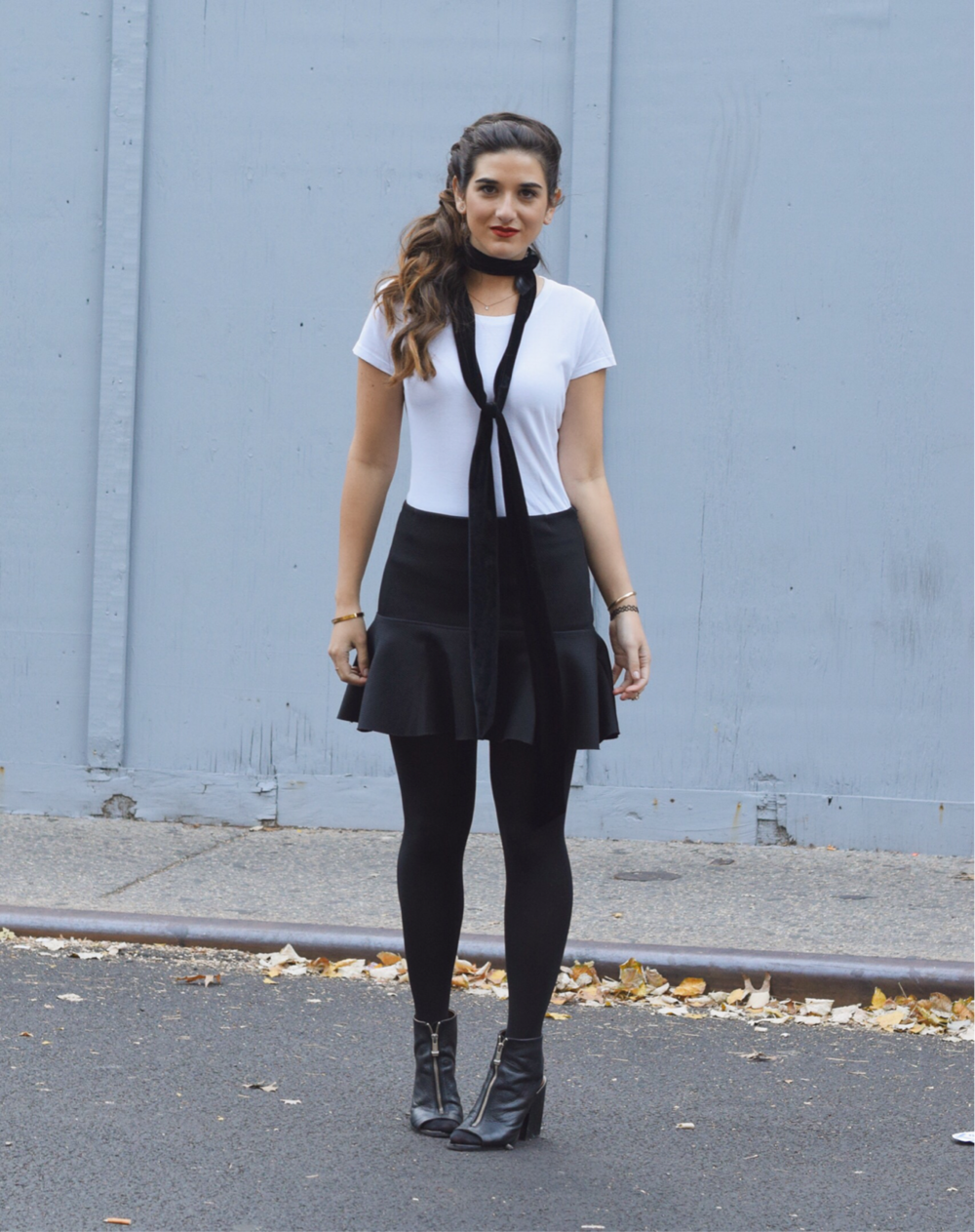 White Tee and Skinny Necktie Onno T-shirts Louboutins & Love Fashion Blog Esther Santer NYC Street Style Blogger Braid Brunette Lydell NYC Jewelry Earrings Black Skirt H&M Tattoo Bracelet Ring OUtfit OOTD Girl Women Trendy Booties Shoes Fall Winter.png