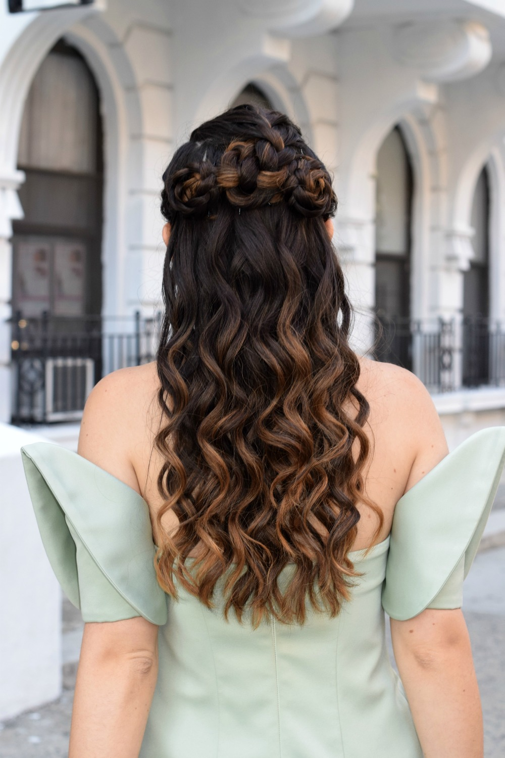 Sage Terno Cocktail Dress Mestiza NY Louboutins & Love Fashion Blog Esther Santer Street Style Blogger NYC Photoshoot Earrings Steve Madden Heels Pumps Hair Brunette Model Girl Women Trendy Outfit OOTD Look Inspiration Inspo Beauty Shop Pretty Braids.JPG