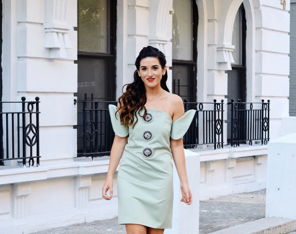 Sage Terno Cocktail Dress Mestiza NY Louboutins & Love Fashion Blog Esther Santer Street Style Blogger NYC Photoshoot Earrings Steve Madden Heels Pumps Hair Brunette Model Girl Women Trendy Outfit OOTD Look Inspo Inspiration Beauty Shop Pretty Braids.JPG