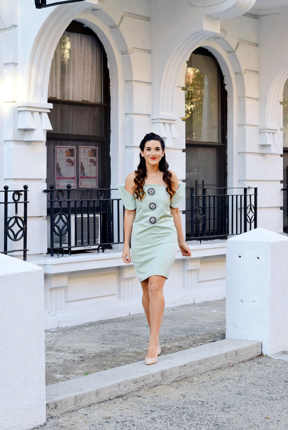 Sage Terno Cocktail Dress Mestiza NY Louboutins & Love Fashion Blog Esther Santer Street Style Blogger NYC Photoshoot Earrings Steve Madden Heels Pumps Hair Brunette Model Girl Women Trendy Outfit OOTD Look Inspiration Inspo Shop Beauty Pretty Braids.JPG