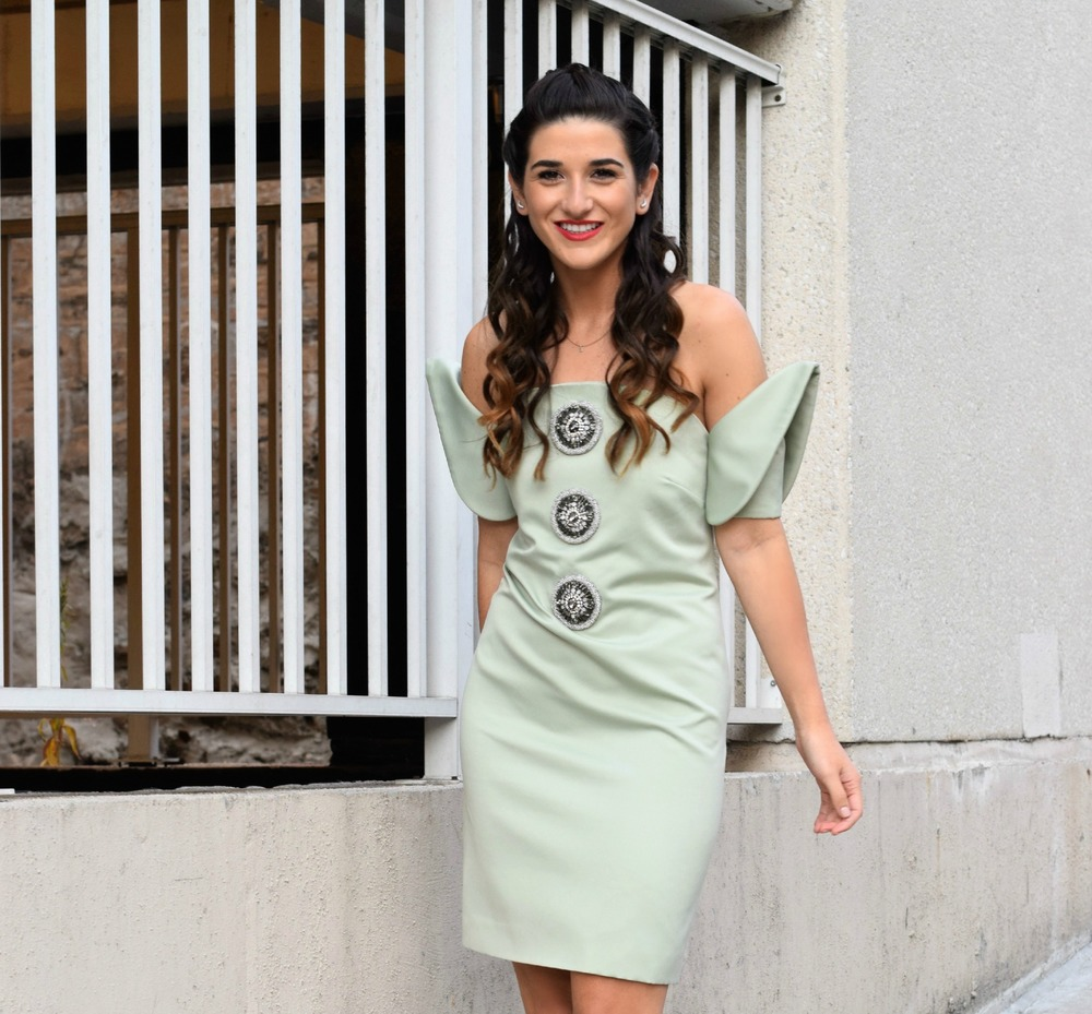 Sage Terno Cocktail Dress Mestiza NY Louboutins & Love Fashion Blog Esther Santer Street Style Blogger NYC Photoshoot Earrings Steve Madden Heels Pumps Hair Brunette Model Girl Women Trendy Outfit Shop OOTD Inspiration  Look Pretty Inspo Beauty Braids.JPG