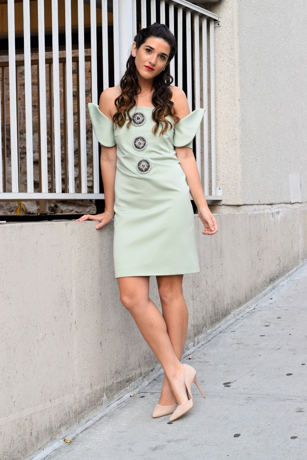 Sage Terno Cocktail Dress Mestiza NY Louboutins & Love Fashion Blog Esther Santer Street Style Blogger NYC Photoshoot Earrings Steve Madden Heels Pumps Hair Brunette Model Girl Women Trendy Outfit Shop OOTD Look Inspiration Inspo Beauty Pretty Braids.JPG