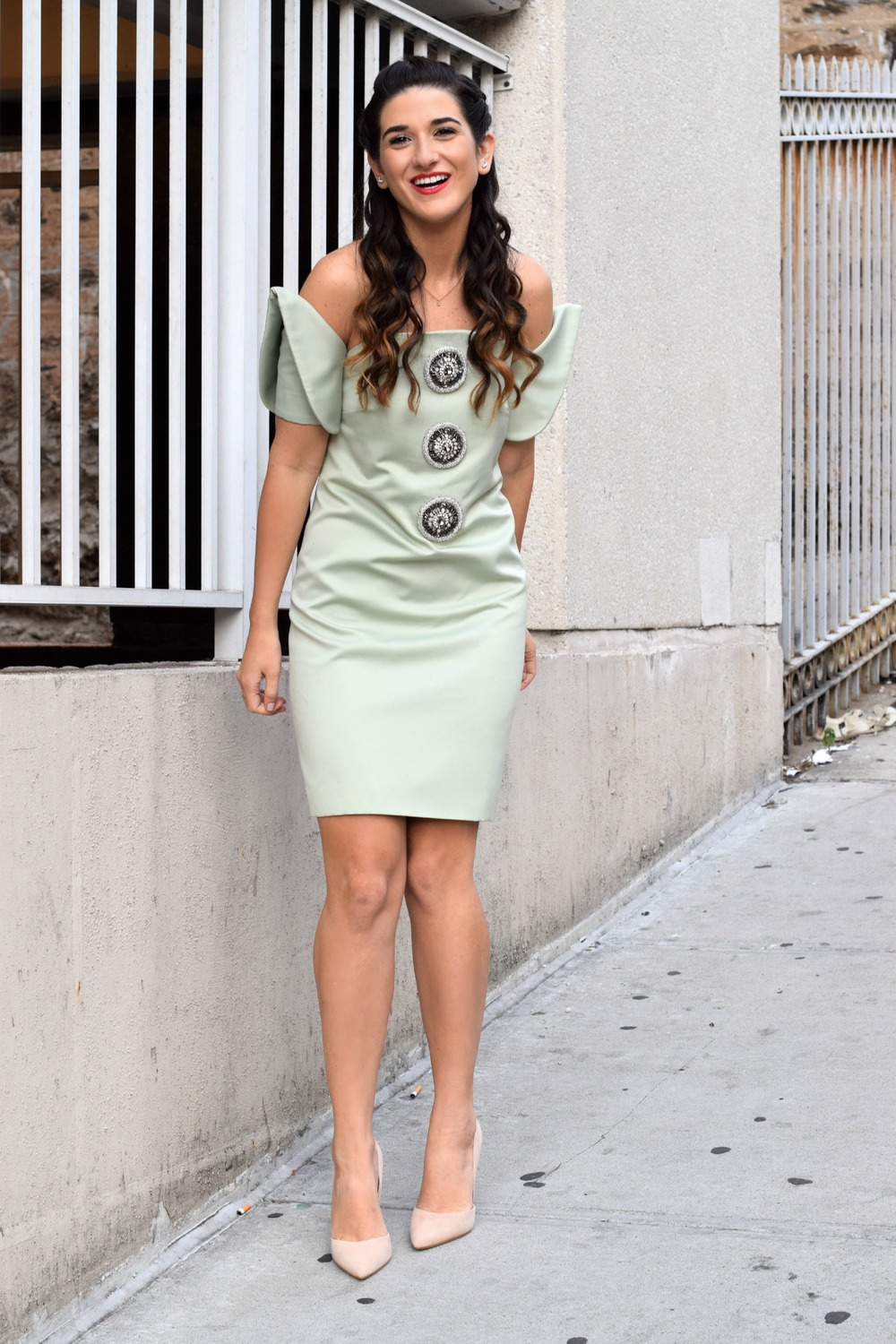 Sage Terno Cocktail Dress Mestiza NY Louboutins & Love Fashion Blog Esther Santer Street Style Blogger NYC Photoshoot Earrings Steve Madden Heels Pumps Hair Brunette Model Girl Women Trendy Outfit Shop OOTD Look Inspiration Pretty Inspo Beauty Braids.JPG