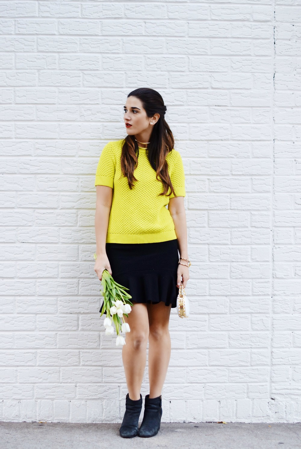 White Prince Minaudiere Erin Dana Louboutins & Love Fashion Blog Esther Santer NYC Street Style Blogger Bag Giveaway Gold Jewelry Lydell Bracelet Collar Necklace Black Booties Flared Ruffle Skirt Neon Yellow Sweater Photoshoot Club Monaco Model Outfit.jpg