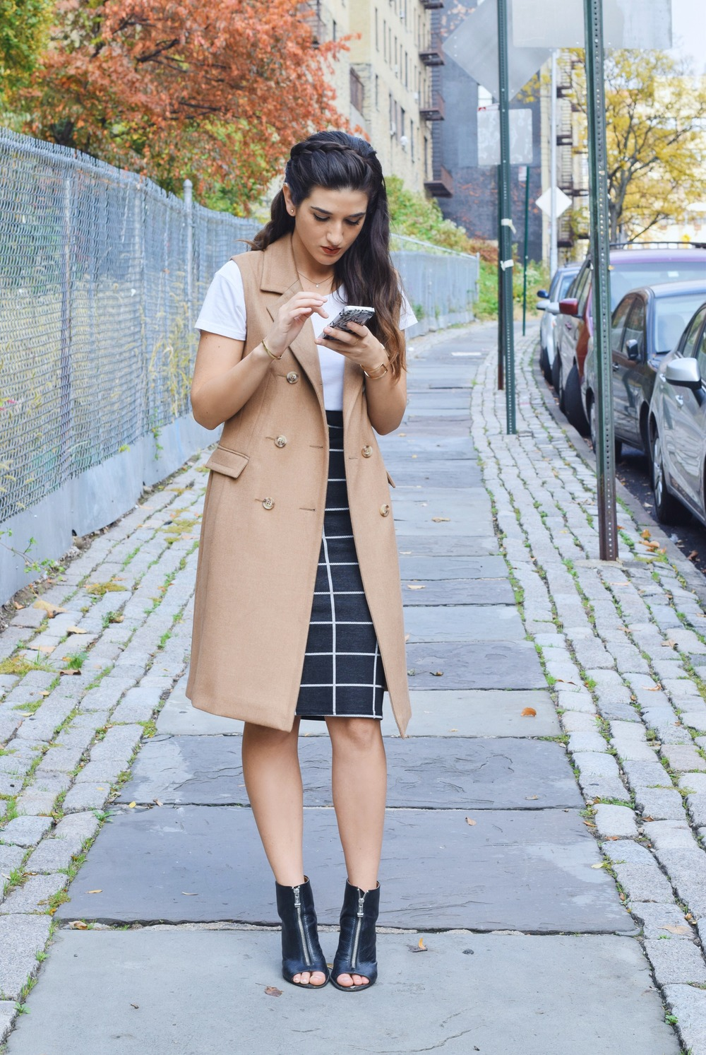 Sleeveless Coat Windowpane Skirt Oasis Louboutins & Love Fashion Blog Esther Santer NYC Street Style Blogger Vest Outfit OOTD  Braid Inspo Inspiration White Tee Windowpane Skirt Gold Jewelry Cuff Bracelet Shoes Black Booties Nordstrom Trendy Girl.jpg