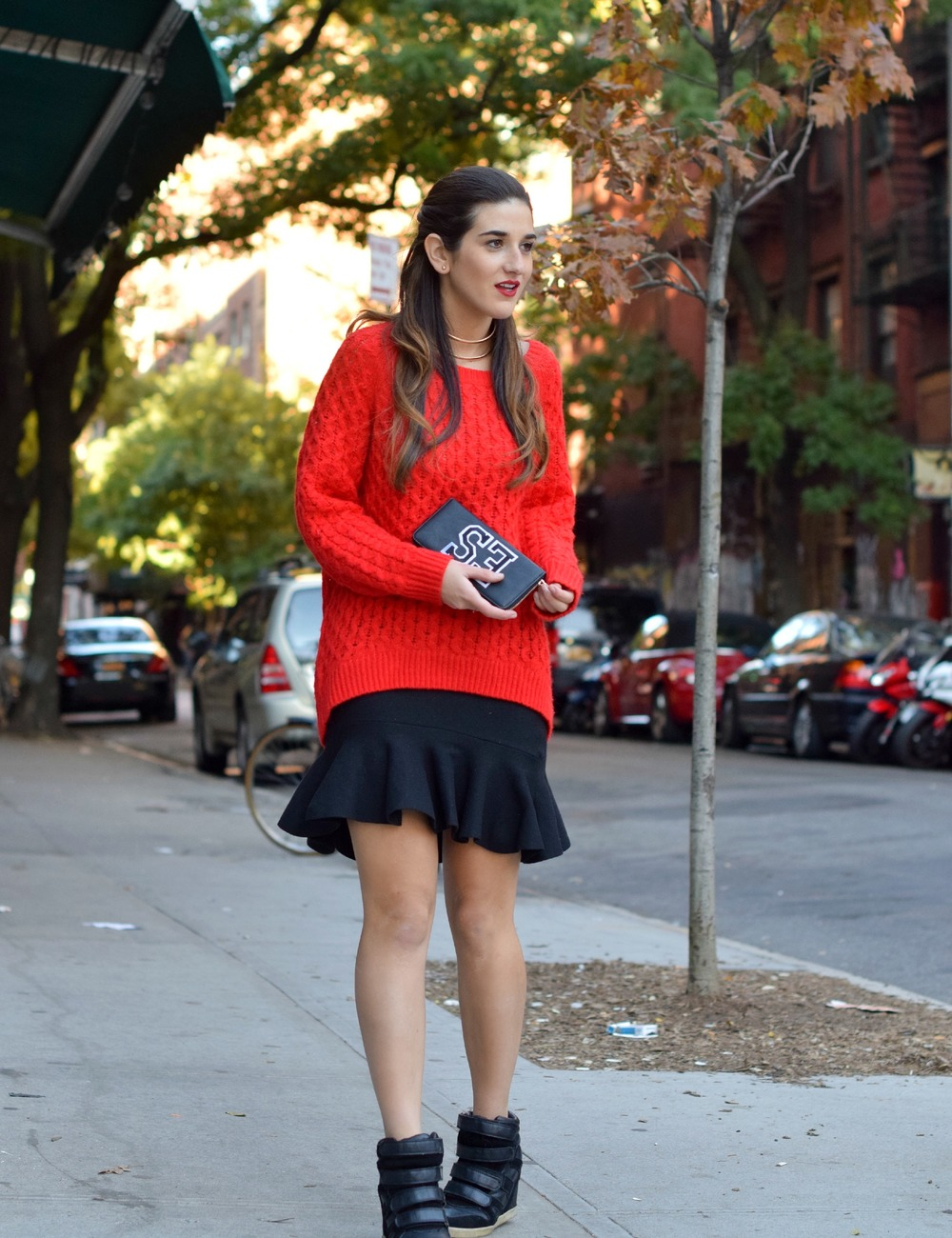Red Sweater Black Ruffled Skirt Wow Couture Louboutins & Love Fashion Blog Esther Santer NYC Street Style Blogger Outfit OOTD Gold Collar Necklace Fall Winter Look Hair Inspo Inspiration How To Wear Shop Chunky Knits Girl Women Photoshoot Soho Wearing.jpg