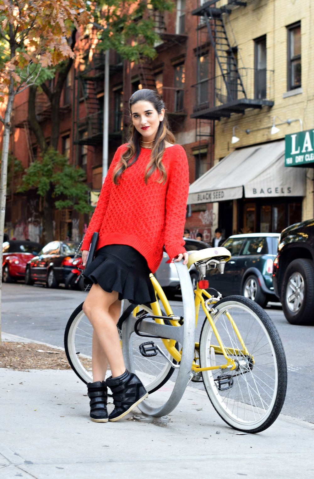Red Sweater Black Ruffled Skirt Wow Couture Louboutins & Love Fashion Blog Esther Santer NYC Street Style Blogger Outfit OOTD Gold Collar Necklace Fall Winter Look Hair Inspo Inspiration How To Wear Chunky Knits Shop Girl Women Photoshoot Soho Wearing.jpg