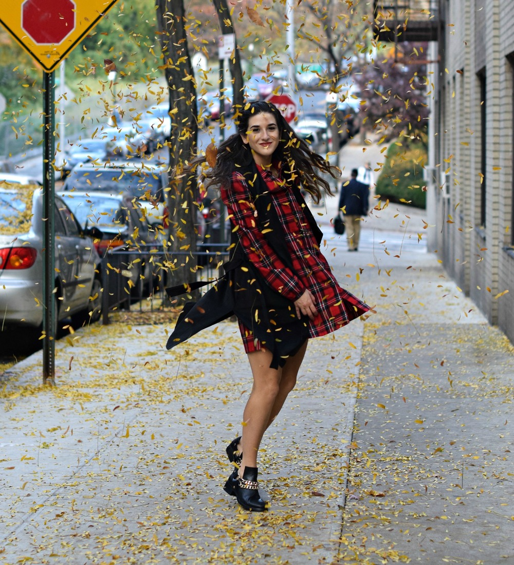Plaid Dress Long Black Vest Louboutins & Love Fashion Blog NYC Street Style Blogger Fall Weather Season Outfit OOTD Chain Booties Zara Monogram Wallet Hair Braid Inspo Pretty Shirt Shopping Girl Women Photoshoot Model Shoes Leaves Fashionista Wearing.jpg